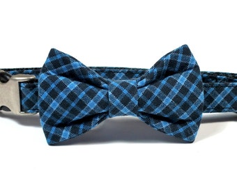 SALE Woven Navy and Blue Plaid Dog Bow Tie, Cat Bow Tie, pet bow tie, collar bow tie, wedding bow tie