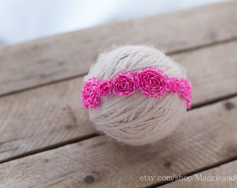 Pink Polka Dot Flowers Newborn Headband, Newborn Headband, Photo Prop, Accessory, Flower Headband, Pink Headband, Polka Dot Headband
