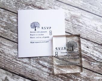 RSVP stamp, wedding rsvp, Custom Wedding Stamp, rsvp card stamp tree