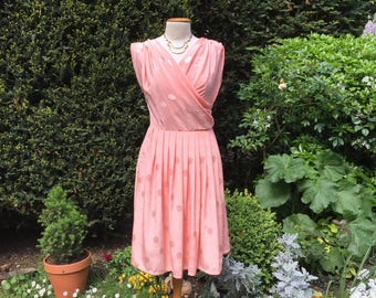 "Vintage hand made 80's peach pink silk, ""Pretty In Pink"" dress for all occasions. Size medium."