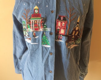 Chambray Christmas Town Embroidered Vintage Blouse // Funny XL Christmas Shirt