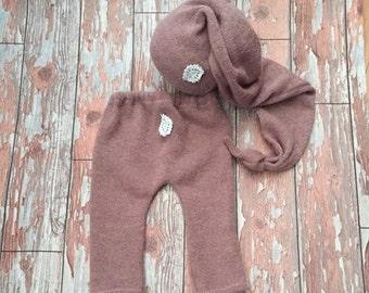 Newborn Baby Girl Pyjamas Sleepy Set Dusky Vintage Rose Trousers Sleepy Cap Photography Prop Bed Hat Night Cap Moon Photography Prop