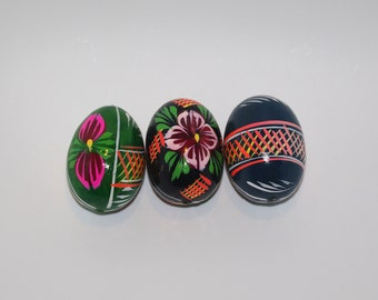 Polish Easter Eggs Pysanky Hand painted decorative egg Pysanka Set of 3 blue black green floral flowers Polish Folk Art Polish Solid Wood