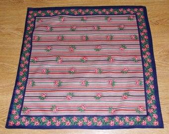Neck scarf Violet Polish Shawl Russian Shawl Folk Scarf Shawl Leaves Flowers Roses Multicolor Stripes Russian Floral headscarf Babushka