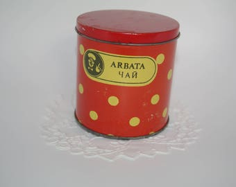 Soviet Red Polka Dot Tin Ukrainian Russian tea box Sugar tin cookie box Round Red Spotted Kitchen Storage Tin Box Russian Cyrillic Candy Tin