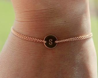 Rose gold Monogram bracelet, rose gold circle bracelet, wedding jewelry, sister bracelet,  bridesmaid gift, friendship bracelet