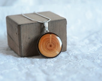 Wooden pendant, natural rich grain wood pendant, tree branch jewelry sterling silver 925, larch wood necklace, wooden necklace