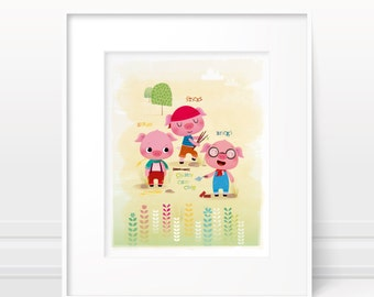 Nursery art - three little pigs print, childrens art, kids room decor, kids illustration, story book art