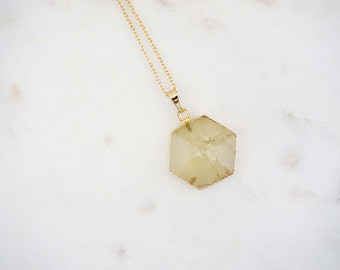 Light Green Hexagon Pendant Necklace