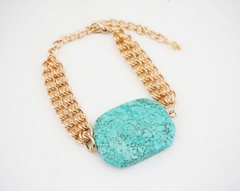 Big Turquoise Stone and Gold Chain Bracelet
