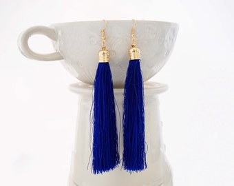 Blue and Gold Long Tassel Statement Earrings