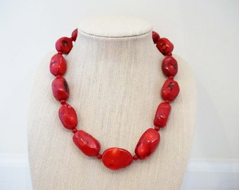 Red Coral Chunky Statement Necklace