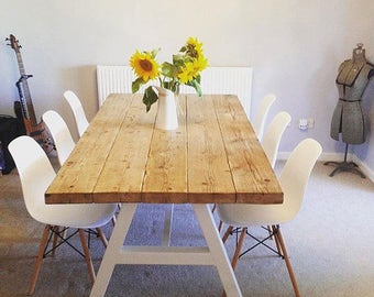 Reclaimed Industrial Chic A Frame 6 8 Seater Solid Wood Metal Dining Table