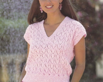 PDF lady's lacy look short sleeve top sweater vintage knitting pattern pdf INSTANT download pattern only pdf