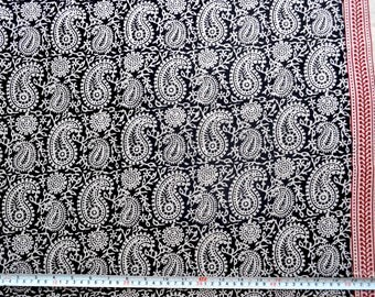 Paisley Block Print Paisley Vegetable Dyed Pre washed Cotton fabric by the yard
