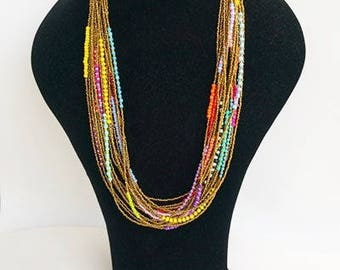 long beaded necklace - multilayer necklace - statement necklace - bohemian necklaces - multi strand necklaces - handmade necklaces - boho