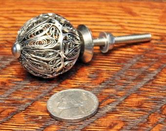 Silver Filigree Knob - Metal Knob - Decorative Metal Knob - Metal Dresser Knobs - Round Knob - Metal Drawer Pull - Filigree Knob