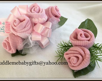 Baby Sock Corsage Baby Shower Baby Sock Corsage and Boutonniere Baby Shower Gift