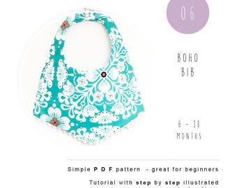 Boho Bib PDF sewing pattern. Baby scarf bib tutorial - Instant download - Baby children sewing pattern. Drool bib.