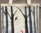 Fox in the Forest Hand Painted Tote Bag Made to Order --Fox Bag--Painted Tote-- Woodland Bag