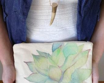 Hand Painted Watercolor Succulent Clutch Bag