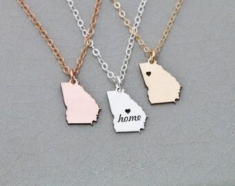 SALE • Georgia Necklace • Silver Georgia Charm • Rose Gold State Georgia State Pendant • Georgia Gift • Personalize State • Gold Jewelry