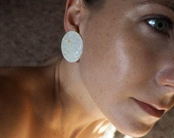 80s Glitter Statement Earclip, Vintage Earring, Single