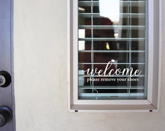 Welcome Please Remove Your Shoes -  Sign Vinyl Decal Sticker