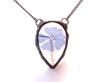 Real evolvulus flower resin pendant. Dwarf morning glories necklace. Blue flower captured in resin. Teardrop pendant on long chain. Rustic.