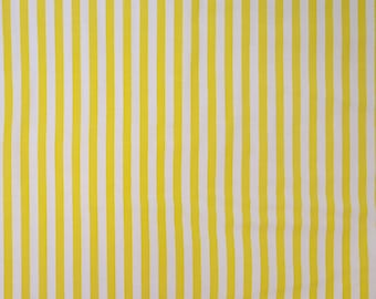 Yellow & White stripe fabric-Cotton quilting fabric-Cottage chic fabric-Children's fabric-Quilt fabric-Sold by the 1/2 yard