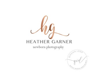 Premade Rose Gold Newborn Photography Logo, Calligraphy Business Card, Marketing Kit for Photographer, Wedding Logo Design, Blog Header Logo