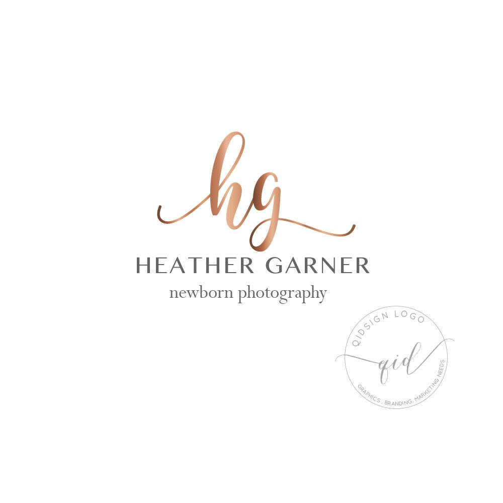 Premade Rose Gold Newborn Photography Logo, Calligraphy Business ...