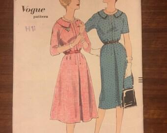 "Vogue 9937 1950s Vintage Dress Sewing Pattern Size 14 Bust 34"""