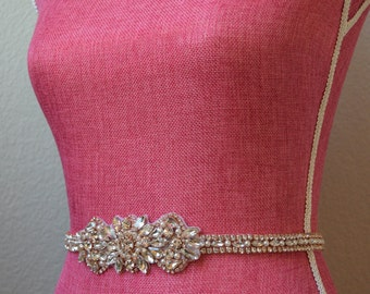 Rose Gold Bridal Belt with Clasp- Full length thin rose gold belt, rhinestone belt, bridal belt clasp, bridal sash, wedding belt EYMbellish