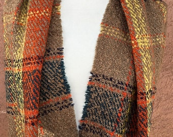 Camel, Orange and Yellow Infinity Scarf / Plaid Scarf /  Gift for Her.