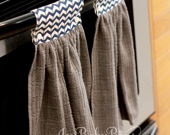 Hanging Kitchen Towel, Housewarming Gift, Oven Towel, Hanging Hand Towel, Kitchen Towel , Blue Chevron Towel, Decorative Towel