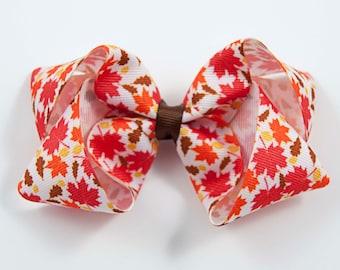Fall Hair Bow, Autumn Hair Bow, Leaf Hair Bow, Fall Hair Clip, Halloween Hair Bow, Thanksgiving Hair Bow (Item #1062)