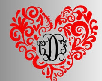 Monogram Yeti Decal, Great Gifts, Groomsmen, Bridesmaid, Monogram Decal, Vinyl Monogram, Vinyl Decal, Vinyl Sticker, Heart,