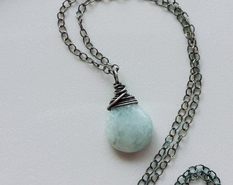 Larimar Necklace, Oxidized Silver Necklace,  Sterling Silver Larimar Necklace, Minimalist Jewelry, Oxidized Pendant