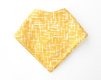 Mustard crossroad bandana bib, drool bib, teething bib, triangle bib with snap buttons