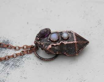 Large Purple Electroformed Amethyst Crystal & Moonstone Boho Gypsy Necklace/Pendant Electroformed in Copper