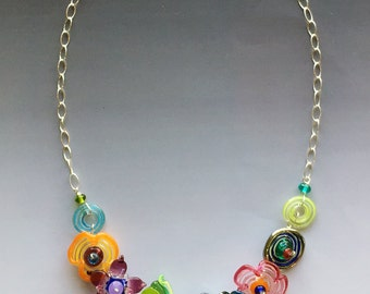 Secret Garden Medium Necklace handmade glass lampwork beads with sterling  silver components  Multicolor