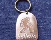 Bigfoot 'Believe' Keychain In Bronze Metal Clay *Ready to Ship*