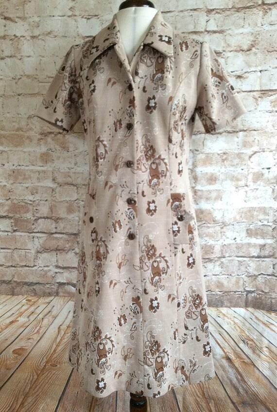 vintage dress miss mary of sweden brown floral polyester. Black Bedroom Furniture Sets. Home Design Ideas