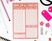 A5 Lined Notepad - 'Today Will Be a Good Day' - 50 Page - Daily Planner -  Red Pink Geometric - Motivational Inspirational