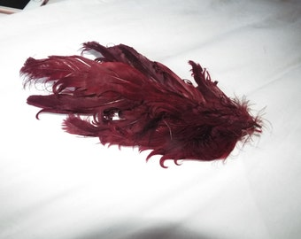 Vintage Hat  1950's Embellishment or Crafting  large Maroon Curly Feather Embellishment ...LARGE