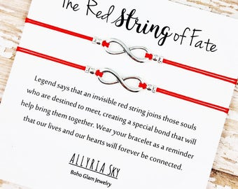 """Set of Two Friendship Bracelets with """"Red String of Fate"""" Card 