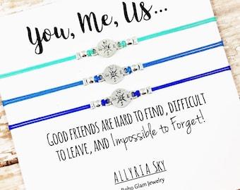 "Set of Three Charm Friendship Bracelets with ""You, Me, Us"" Card | Best Friend Gift Jewelry | Matching Bracelets | Long Distance, Graduation"