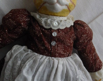 Ceramic and Cloth Cat Doll Plays Music