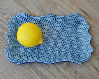 Textured Blue Ceramic Handmade Plate, Tray, Serving Plate, Home Decor, Gift